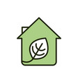 house leaf sustainable environment ecology line vector image