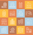 houses and buildings lineart minimal iconset on vector image vector image
