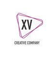 initial letter xv triangle design logo concept vector image vector image