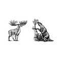 irish elk or giant deer and ground sloth or vector image vector image