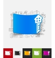 key paper sticker with hand drawn elements vector image