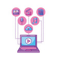 laptop player video button network icons vector image vector image