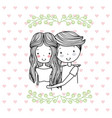 man and woman romantic couple cute hand drawn vector image