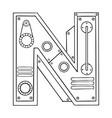 mechanical letter n engraving vector image vector image