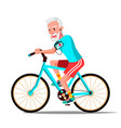 old man riding on bicycle healthy vector image vector image