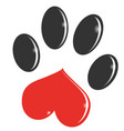 paw print cartoon isolated on white background vector image vector image