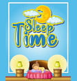 poster design with word sleep time and girl vector image