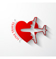 red silhouette of jet airplane on heart shape vector image