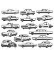 retro car vintage auto vehicle models transport vector image vector image