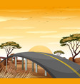 road in the savanna field vector image vector image