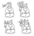 santa claus stickers black white vector image vector image