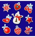 Set of Christmas sticker toys on a blue background vector image vector image