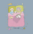 sleeping girl and cat good night sweet dreams vector image vector image