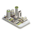 smart city center isometric composition vector image