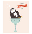 valentines greeting card with lovely penguin vector image
