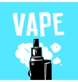Vape device and smoke on blue vector image