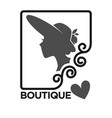 woman fashion dress or hat boutique and atelier vector image vector image