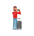 young bearded man standing with luggage tourist vector image vector image