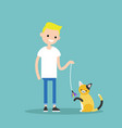 young character playing with a cat flat editable vector image vector image