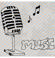 microphone retro hand drawn design card vector image
