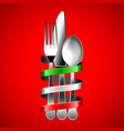 silver cutlery and italian flag ribbon on red vector image