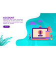 account concept with character template for vector image vector image