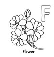 alphabet letter f coloring page flower vector image vector image