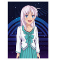 beautiful anime woman vector image vector image