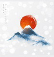 blue mountains and big red sun symbol japan vector image vector image