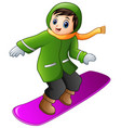 cartoon boy playing snowboard vector image