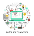 Coding and Programming Line Art Thin Icons vector image vector image