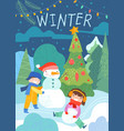 colorful winter scene with kids and snowman vector image
