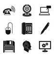 cozy work icons set simple style vector image vector image