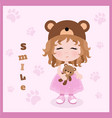 cute little girl in hat with bears ears baby vector image