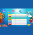 days of the week table with underwater background vector image vector image