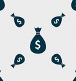 dollar money bag icon sign Seamless pattern with vector image