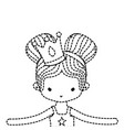 dotted shape girl dancing ballet with two buns vector image vector image