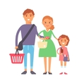 Family in supermarket portrait vector image vector image