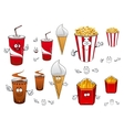 Fast food and drinks cartoon characters vector image