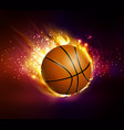 flying basketball on fire vector image vector image