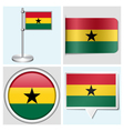 Ghana flag - sticker button label flagstaff vector image vector image