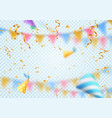 golden flying confetti on blur effect holiday vector image