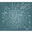 Hand drawn arrow icons set on blue vector image