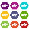 hand showing two fingers icon set color hexahedron vector image vector image