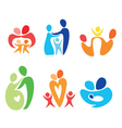 happy family icons set vector image vector image
