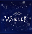 hello winter in white on dark blue vector image