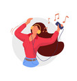 listening to headphones smiling woman listening vector image vector image