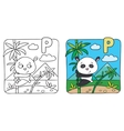 Little panda coloring book Alphabet P vector image