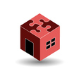 Logo for real estate market with a puzzle roof vector image
