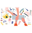 manicure salon top view nail master work vector image